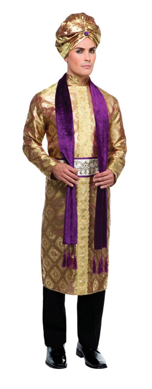 Mens Bollywood Man Costume Asian Indian Bolly Saree Fancy Dress Outfit